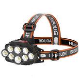 XANES® 4-Modes 8 * XPG LED كشافات USB رأس تخييم طويل قابل لإعادة الشحن ضوء18650 مصباح صيد ضد للماء رأس شعلة مصباح يدوي