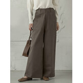Women Casual Basic Solid Color Loose Wide Leg Pants With Pocket