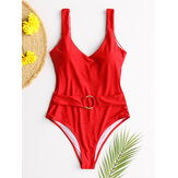 Women Solid Color V-Neck Backless One Piece Belted Slimming Swimsuit