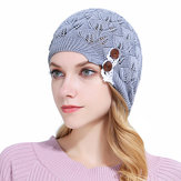 Damen Gestrickte Beanie Hüte Casual Hollow Out Lace Button Wolle Warm Bonnet