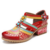 SOCOFY Bohemia Ethnic Style Stitching Embossed Beading Floral Chunky Heel Pumps