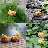 DIY Nido de Pájaro Resina Pequeño Ornamento Moss Micro Muebles Artículos Inicio Planta Suculenta Decoración