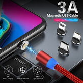 USLION 3A USB to USB-C/Micro USB Cable Magnetic Fast Charging Data Transmission Cord Line 1m/2m long For Samsung Galaxy Note 20 For iPad Pro 2020 MacBook Air 2020 Mi 10 Huawei P40 OnePlus 8 OnePlus 8 Pro