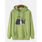 Mens Cotton Cartoon Cat Print Solid Loose Drawstring Hoodies With Kangaroo Pocket