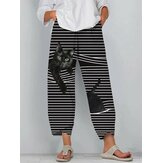 Women Black Cat Print Striped Elastic Waist Plus Size Casual Pants