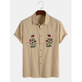 Mens Rose Embroidery 100% Cotton Casual Shirts