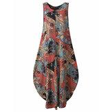 Longgar Lentera Tanpa Lengan Vintage Printed Maxi Dress Untuk Wanita