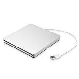 Portable USB 3.0 Silver External DVD-RW Max.24X Transmisión de datos de alta velocidad para Win XP Win 7 Win 8 Win 10 Mac
