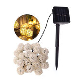 Solar Powered 6.5M 30 LED Rattan Balls Fairy String Lights Warm White/Multicolor Christmas Holiday Outdoor Waterproof Patio Garland Decorations Lights