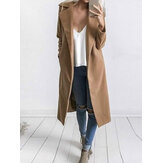 Manteau long de couleur unie