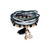Bohemian Tassel Flower Folha Pingente Multilayer Beads Bracelets for Women