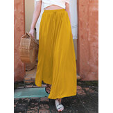 Women Solid Color Elastic Waist Lace Up Holiday Wide Leg Chiffon Pants