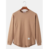 Cotton Mens Solid Color Round Neck Long Sleeve Loose T-Shirts