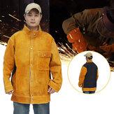 ジャケット牛牛革溶接レザーエプロン保護コートはんだ付け安全衣類防炎服