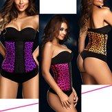 Leopardo látex de borracha cintura óssea do corpo treinador moldar cincher shaper corset underbust