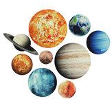 9 pièces / ensemble planète autocollants système solaire planètes Stickers muraux sticker mural maison salon enfants chambre bébé pépinière décorations