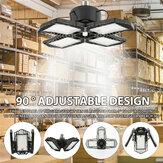 60W E27 132 LED Lâmpada de teto deformável de 4 lâminas de luz de garagem para oficina de fábrica AC85-265V