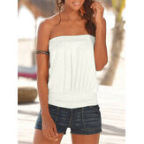 Summer White Solid Color Strapless sin mangas Casual Tube Tank Top
