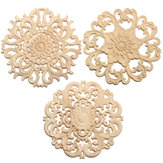 Wood Carved Onlay Applique Unpainted Flower Pattern Furniture Frame Door Decor 15cm