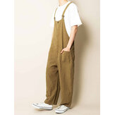 Men 100% Cotton Multi Pockets Straight Wide Leg Loose Fit Overalls Pants