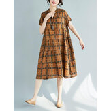 Vintage Plaid V-neck Short Sleeves Loose Dress
