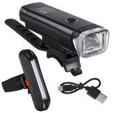 BIKIGHT 350Lm 1200mAh táctil sensible a la luz LED Juego de luces de bicicleta de carga USB Faro de bicicleta con luz trasera