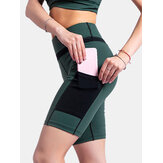 Wanita Kontras Warna Pocket Fitness Workout Biker Shorts