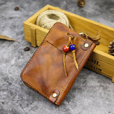 Men Genuine Leather Made-old Bead Decoration Casual Small Car Keychain Bag Coin Bag Wallet