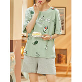 Plus Size Women Cute Cartoon Animal Letter Print korte mouw Pyjama Sets