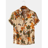 Mens Cotton Floral Oil Printing Turn Down Collar Short Sleeve Shirts