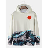 Mens Sea Landscape Print Pocket Long Sleeve Ukiyoe Hoodies