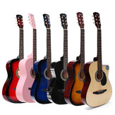 Jixing 38 Zoll Holz abgewinkelte Akustikgitarre 6-Farben-Folk-Gitarre mit Aufbewahrungstasche Geschenk für Anfänger