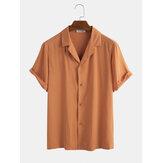 Camisas casuais de manga curta masculina vintage de algodão respirável de cor sólida