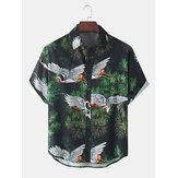 Hombre Crane Planta Camisas de manga corta ocasionales sueltas con estampado ligero
