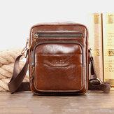 الرجال جلد طبيعي متعددة الوظائف الرجعية ارتداء مقاومة كبيرة سعة حقيبة يد حقيبة الكتف عبر الجسم