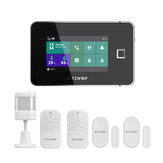 BlitzWolf® BW-IS20 Tuya Wireless 2G GSM Wifi Smart Home Security Alarm System Starter Kit With DIY 4.3 Inch Fingerprint Unlock Touch Display Smart Alarm System Hub / 2 * Window & Door Sensors / 1 * Motion Detector / 2 * Remote Controllers