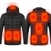 Jaqueta TENGOO 8 Áreas USB Elétrica Aquecida Homens Mulheres Quebra-Vento Aquecedor de Inverno Caminhada Jaqueta Térmica À Prova D 'Água Para Esportes De Inverno