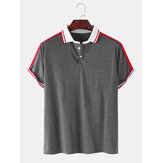 Mens Plain Casual Short Sleeves Golf Shirt With Contrast Ribbed Trims