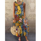 Women Vintage Sleeveless O-neck Loose Baggy Summer Casual Long Maxi Dress