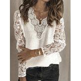 Suéter feminino de renda patchwork com decote em v cor sólida casual