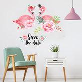 MiicoCreativeRoseAmourCoupleFlamant Fleur PVC Amovible Home Room Décoratif Porte Murale Décor Autocollant