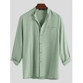 Erkek Moda% 100 Pamuk Cep Düz Renk Casual Gömlek