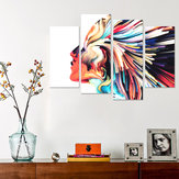 5PCS Wall Art Canvas Paintings HD Print Abstract Colorful Hair Woman Face Posters And Prints Canvas Art Home Decor
