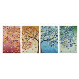 4 peças Pintura de arte em parede em lona 40 * 60 cm Fotos suspensas Árvores da estação Decoração do salão de estar Suprimentos sem moldura