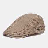 Herren Vintage Briefstickerei Baumwolle Baskenmütze Kappen Outdoor Sunshade Forward Cap Verstellbar