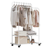 82x18x5cm Heavy Duty Metal Garment Dual Rail Clothes Rolling Hanging Rack & Shelf Stand