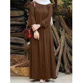 Robe longue à manches bouffantes plissée de couleur unie pour femmes