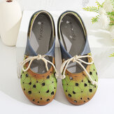 SOCOFY Comfy Leather Hollow Round Toe Soft Semelle Mules Chaussures plates à lacets