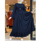 Casual Solid Color Flare Sleeve Lace-Up Chiffon Loose MuslimMaxi Dress