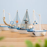 Mediterranean Style 14cm Boat Sailing Model Handmade Creative Home Decoration Decoration Ornament
